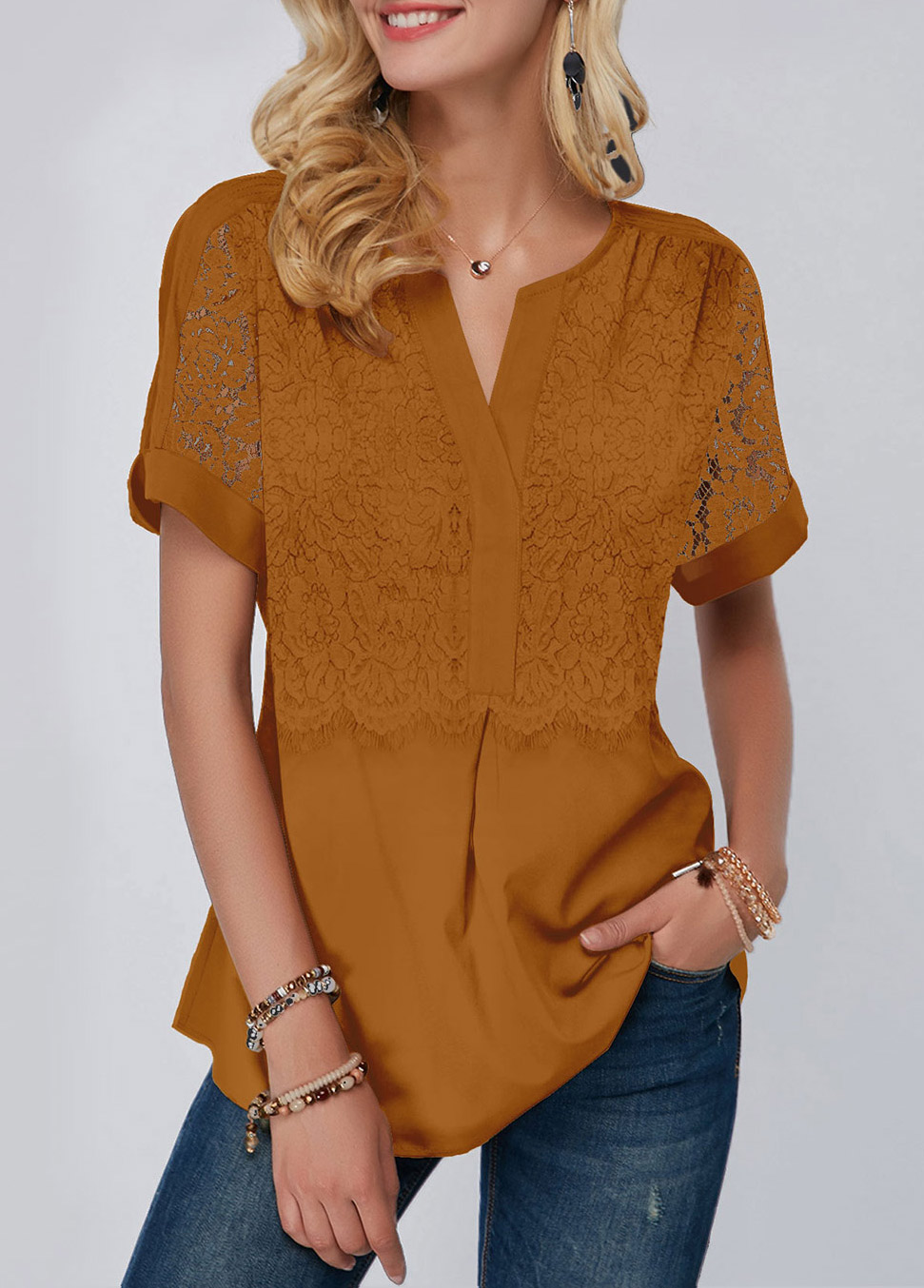 Short Sleeve Lace Panel Yellow Blouse