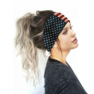 Multi Color American Flag Print Wide Bandana