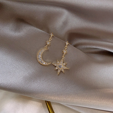 Moon and Star Shape Rhinestone Embellished Earrings