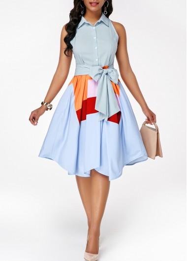 Sleeveless Button Front Asymmetric Hem Belted Dress