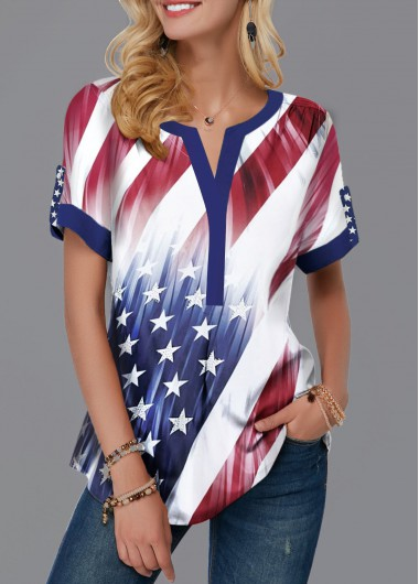 American Flag Print Split Neck Contrast Piping Blouse