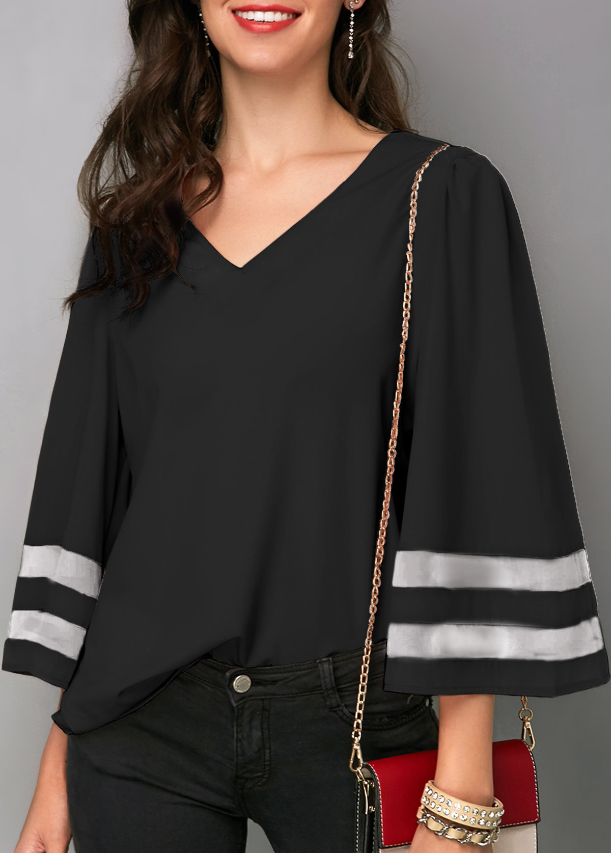 Flare Sleeve Black V Neck Blouse