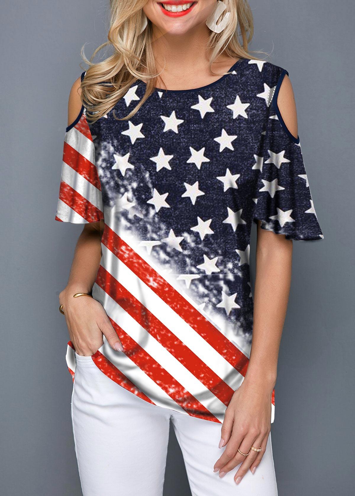 Cold Shoulder Round Neck American Flag Print T Shirt