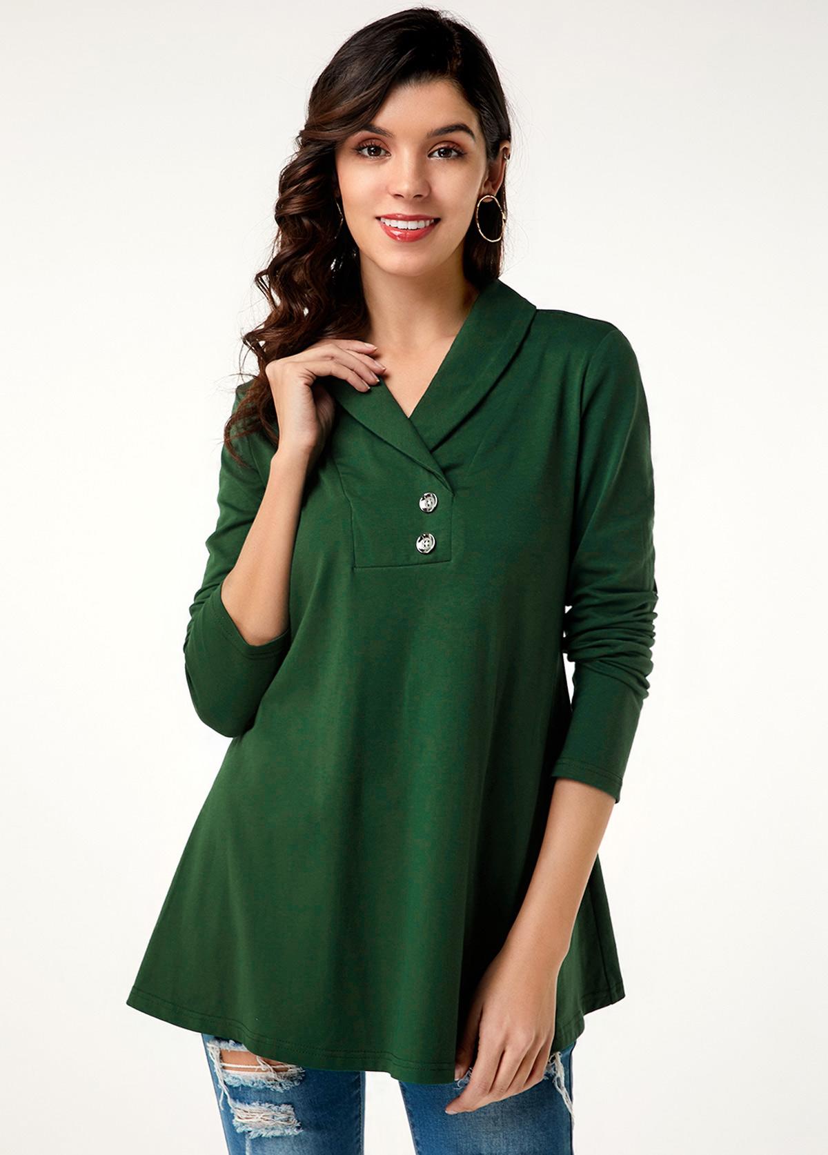 Long Sleeve Dark Green Button Decorated T Shirt