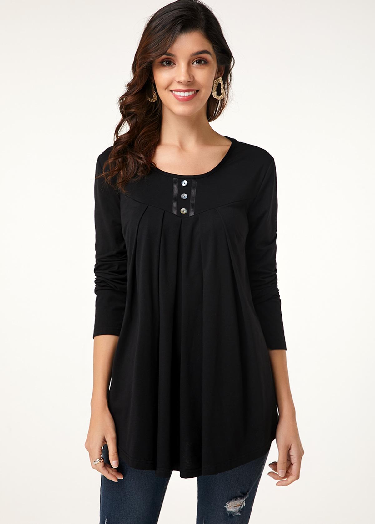 ROTITA Button Detail Long Sleeve Round Neck T Shirt