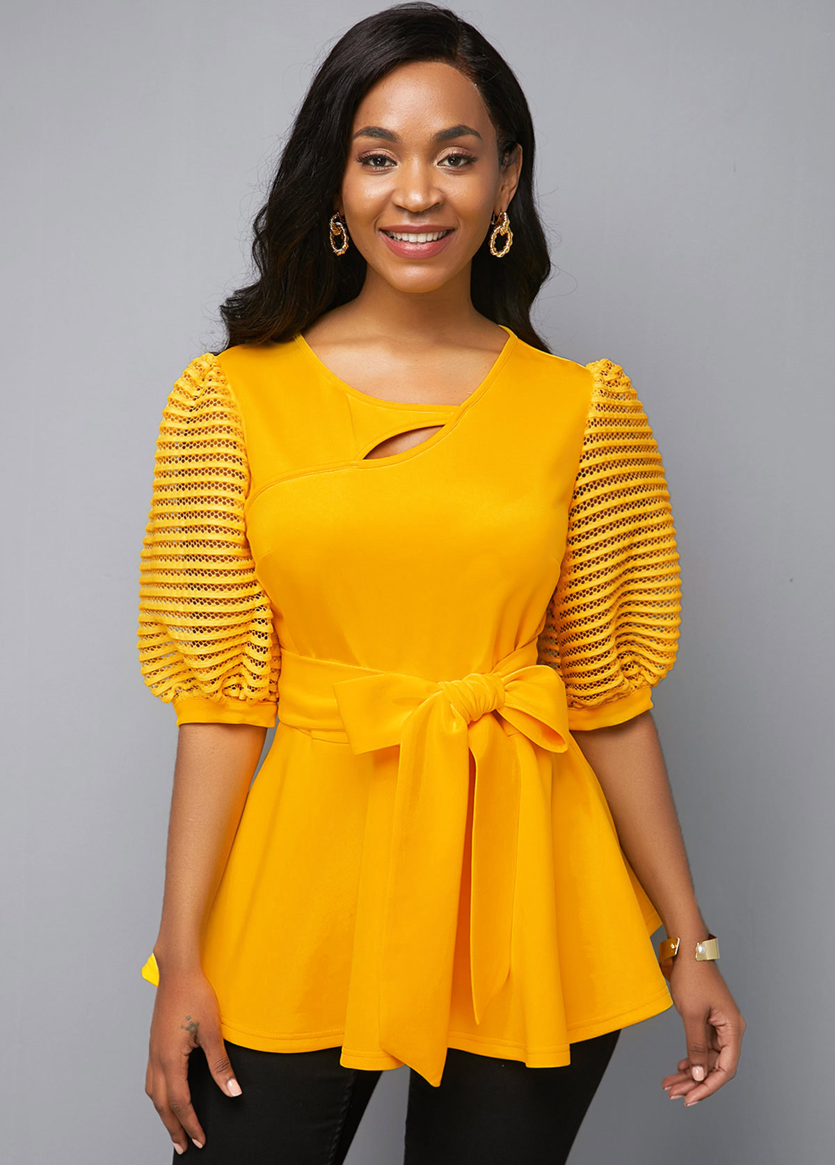 Yellow Keyhole Neckline Half Sleeve Belted T Shirt