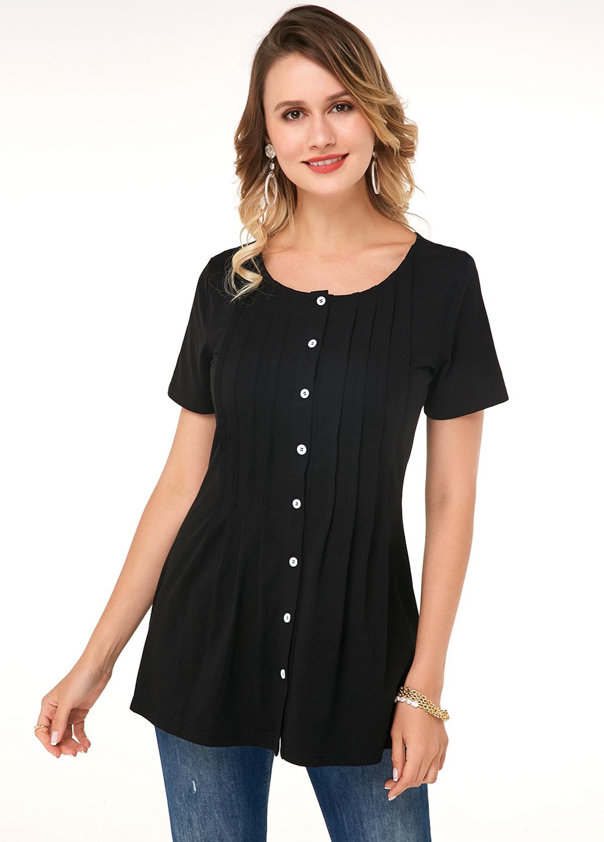 Black Button Detail Round Neck Soft T Shirt