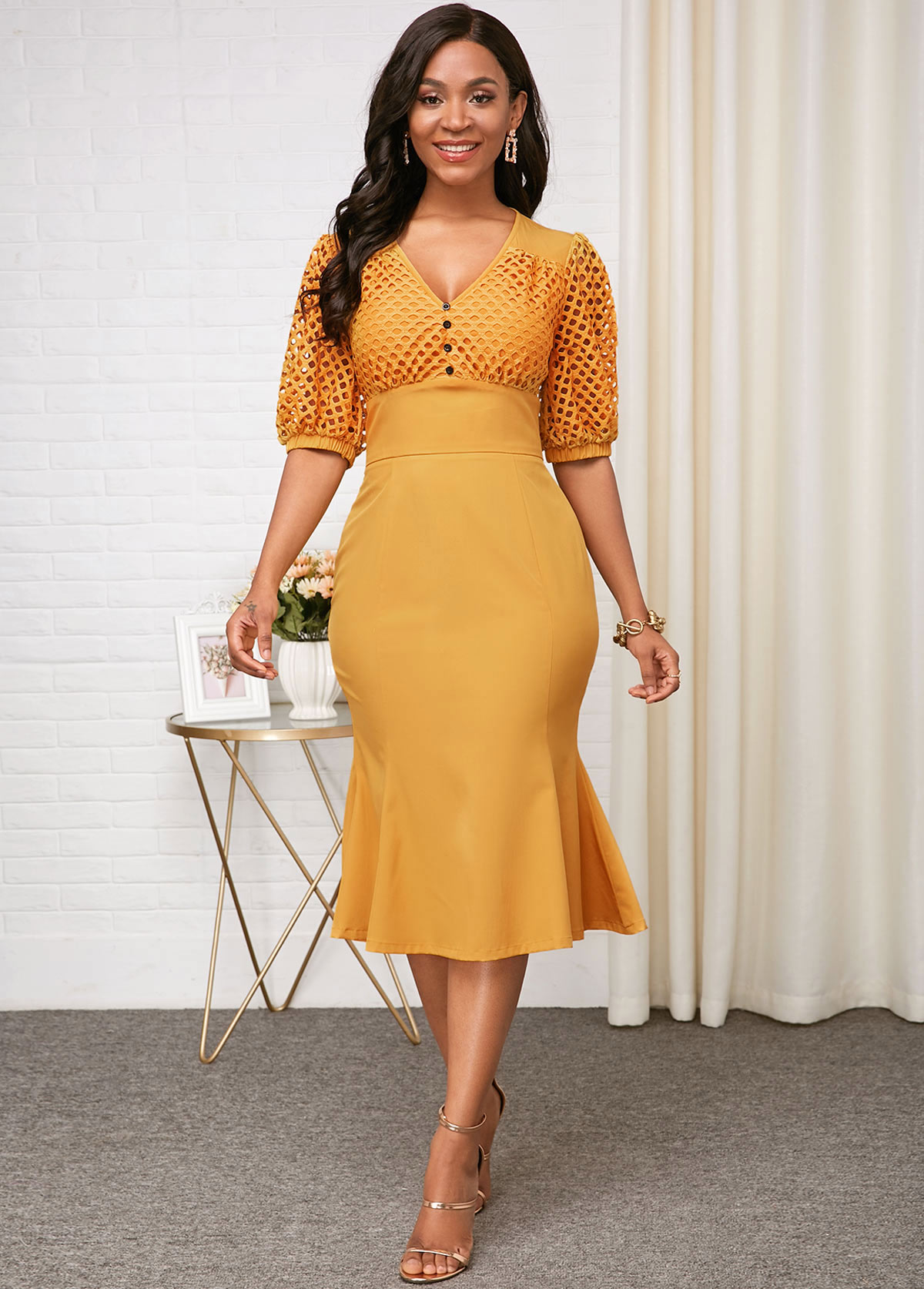 ROTITA V Neck Yellow Half Sleeve High Waist Dress
