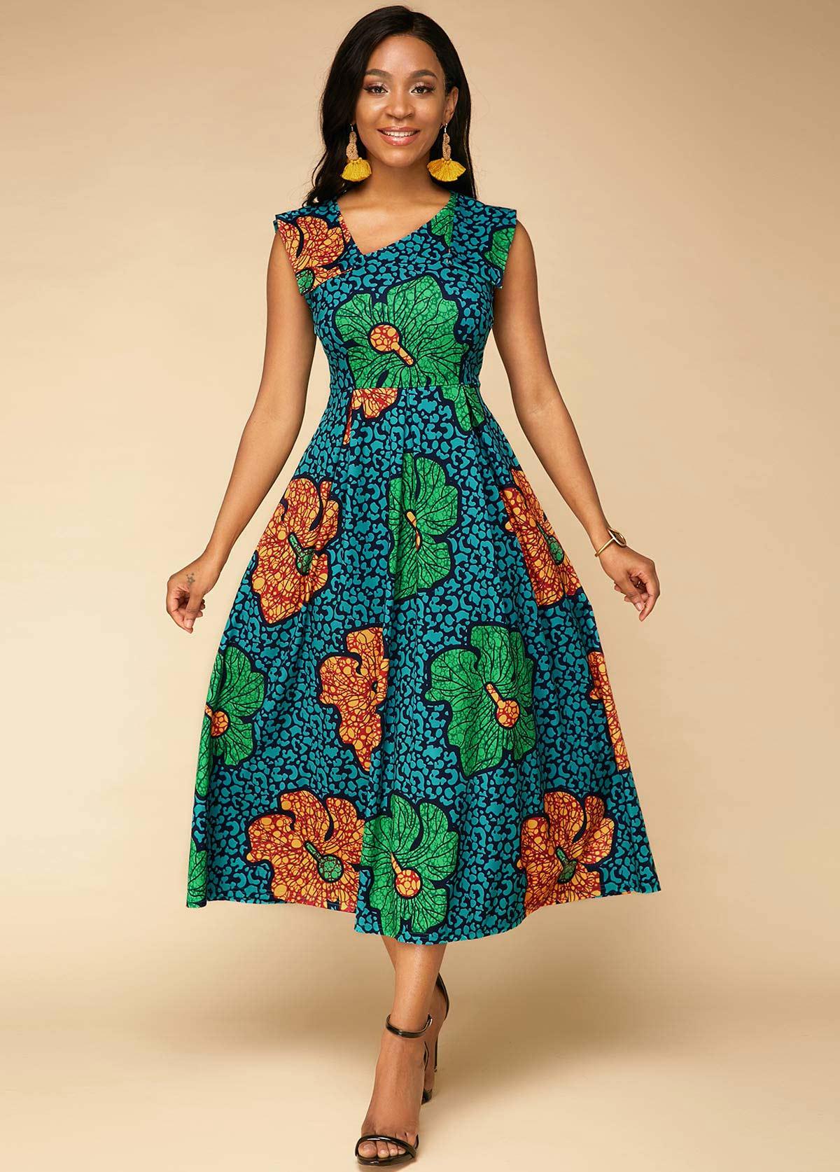 ROTITA Oblique Collar Flower Print High Waist Sleeveless Dress