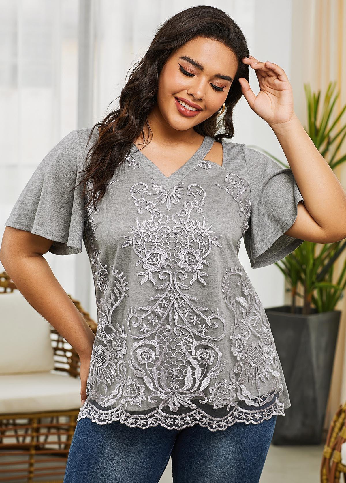ROTITA Short Sleeve Grey V Neck Plus Size T Shirt