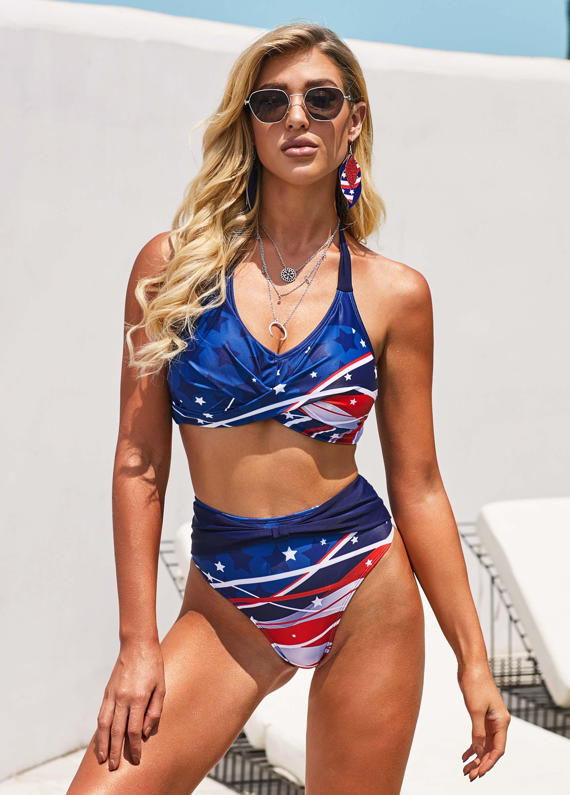 ROTITA Wide Strap American Flag Print High Waist Bikini Set