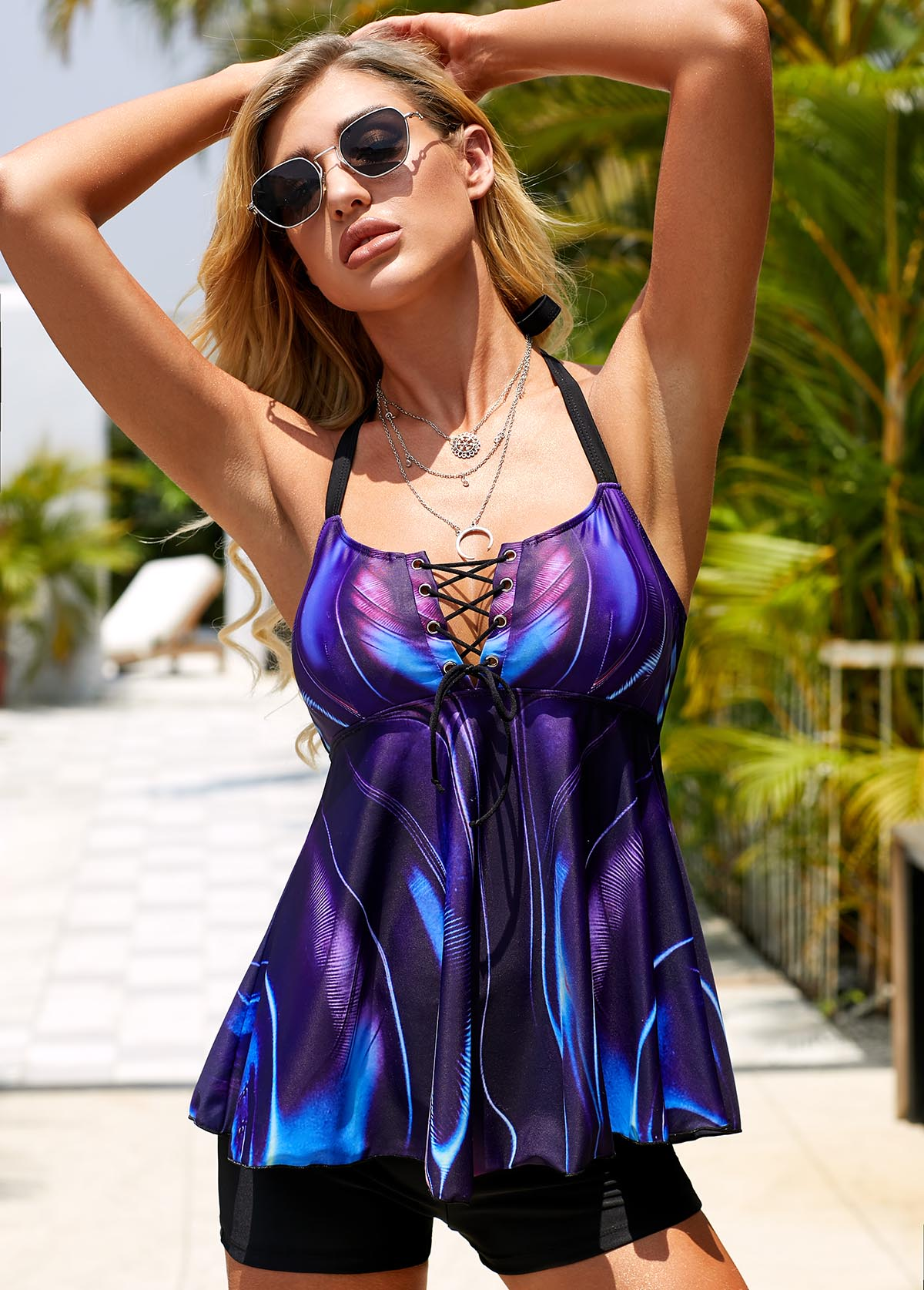 ROTITA Halter Neck Lace Up Purple Swimdress and Shorts