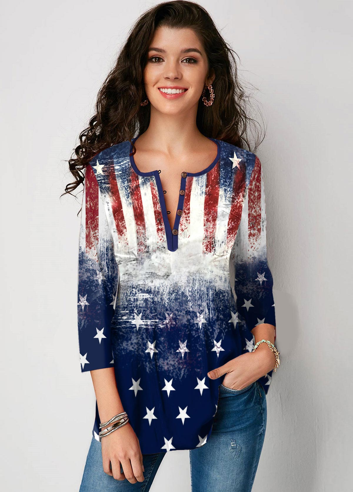 ROTITA Three Quarter Sleeve Button Up American Flag Print Blouse