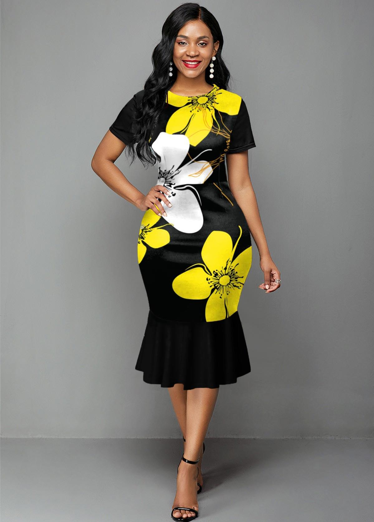 ROTITA Short Sleeve Flower Print Ruffle Hem Dress