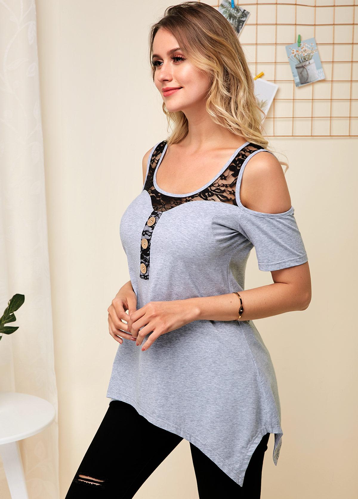 Cold Shoulder Lace Panel Grey Soft T Shirt