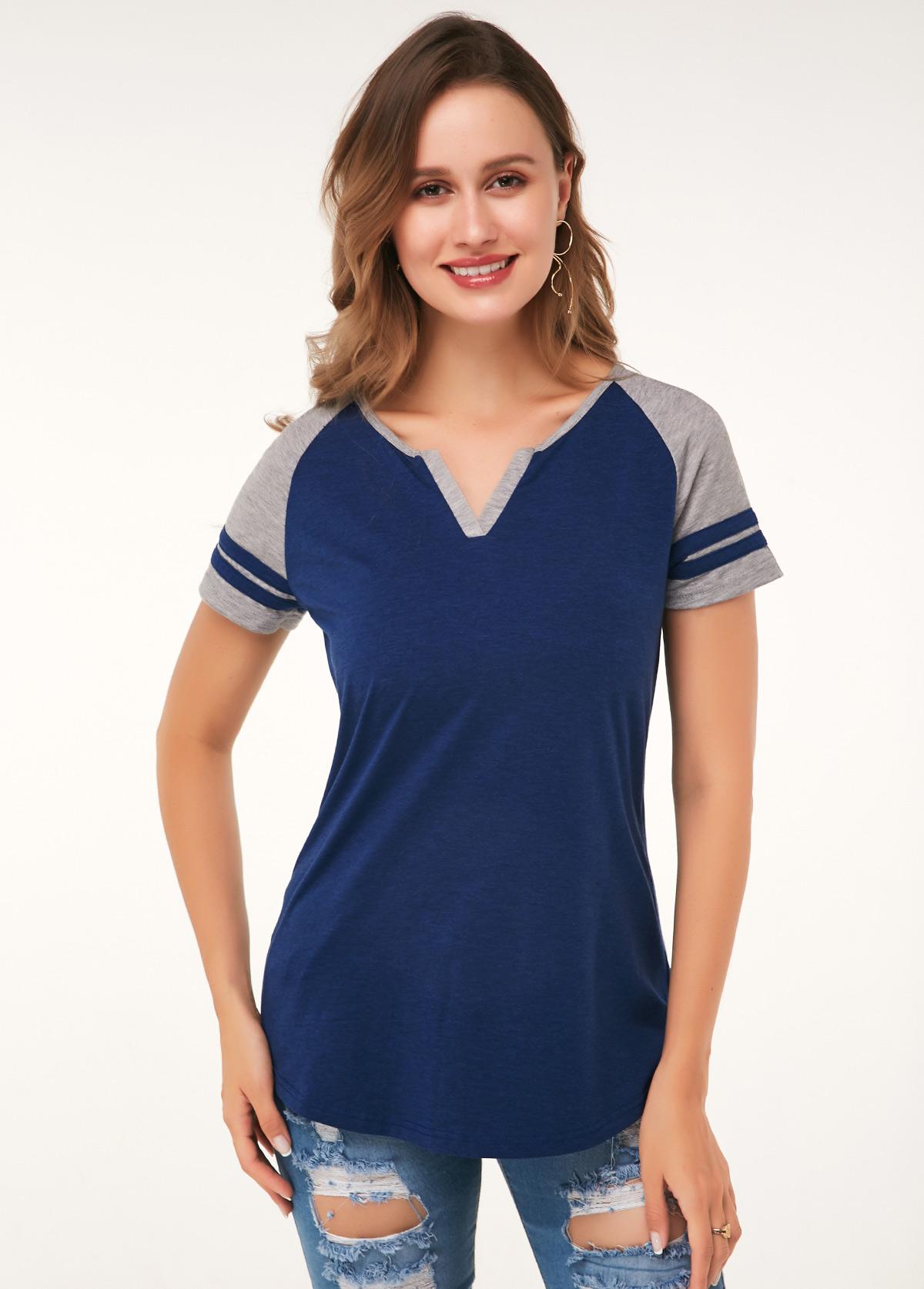 Short Sleeve Split Neck Color Block Soft T Shirt