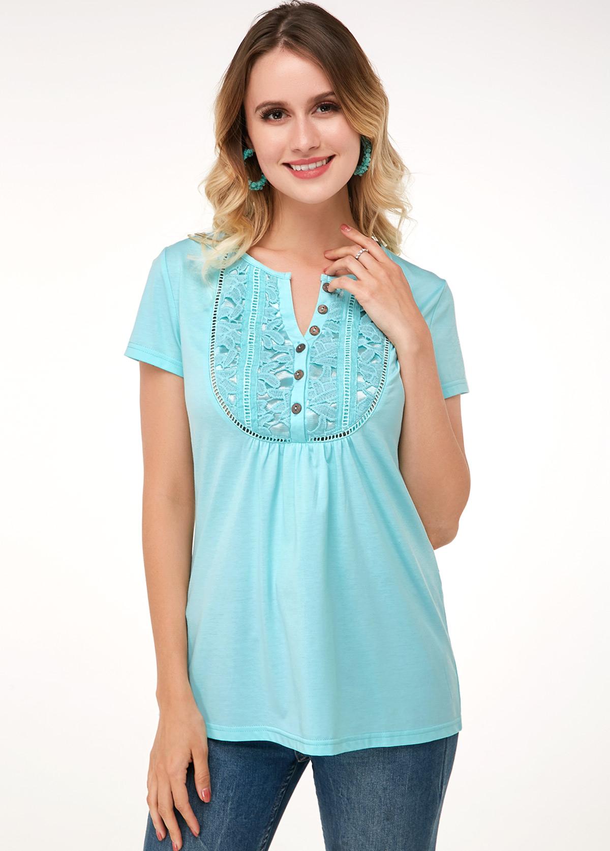 ROTITA Mint Green Lace Panel Short Sleeve Soft T Shirt