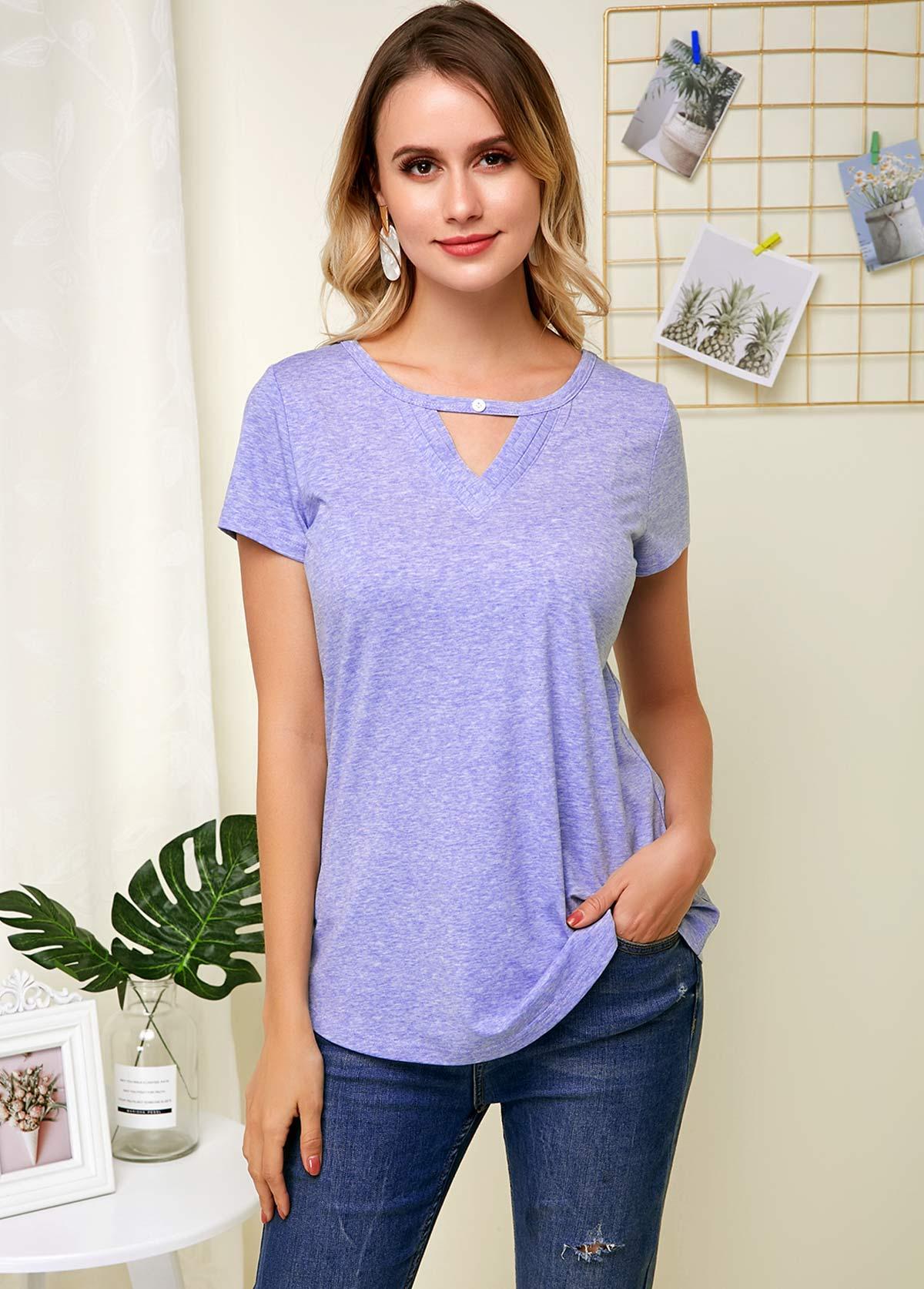 ROTITA Purplish Blue Short Sleeve Hollow Neck Soft T Shirt