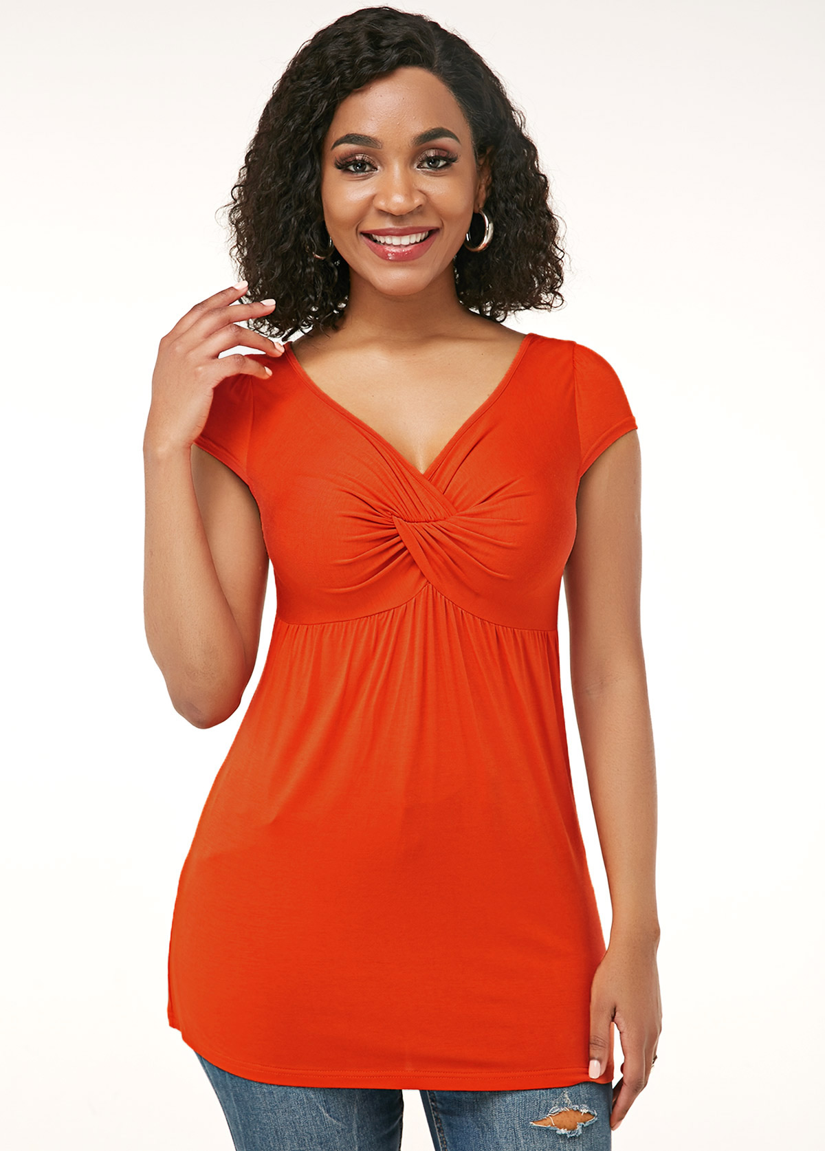 ROTITA Orange Red Crinkle Chest V Neck Soft T Shirt