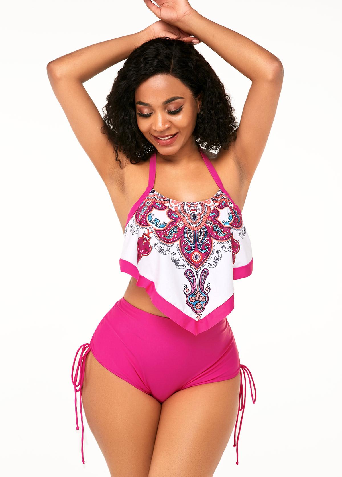 ROTITA High Waisted Tribal Print Asymmetric Hem Bikini Set