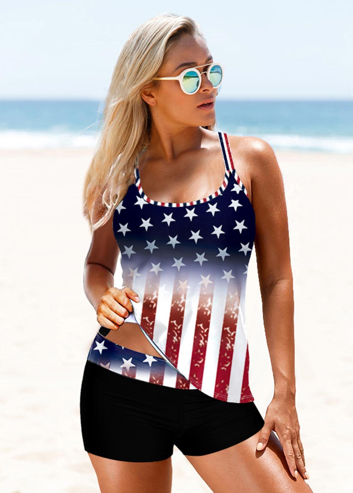 American Flag Print Cross Strap Takini Set
