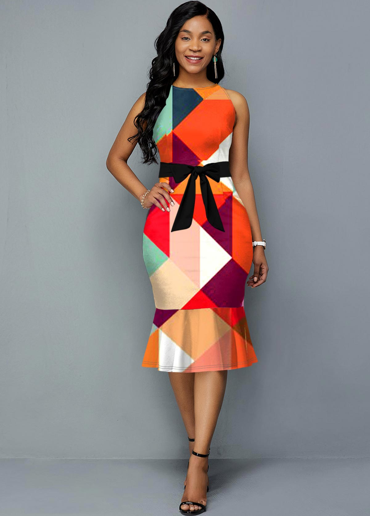 Geometric Print Sleeveless Belted Dress
