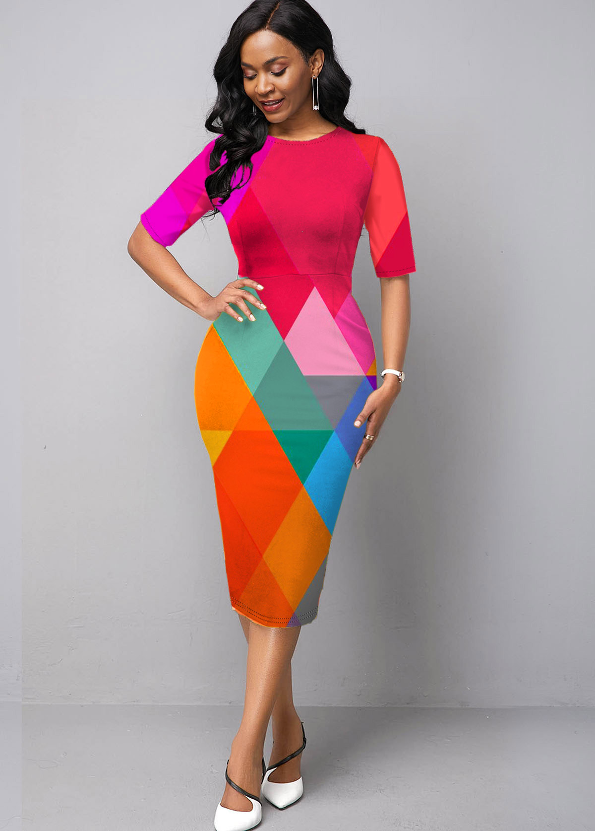 Half Sleeve Geometric Print Rainbow Color Dress