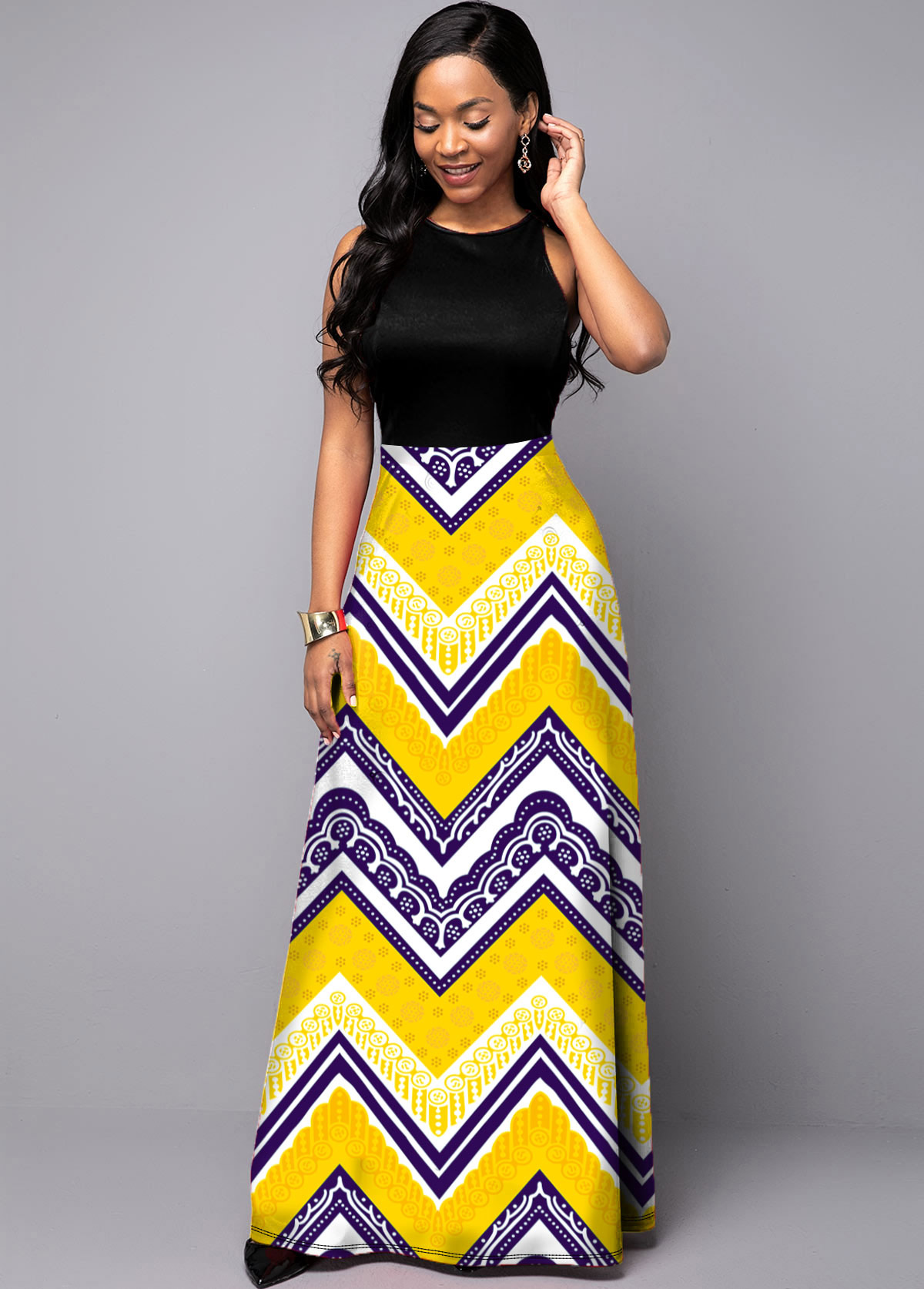 ROTITA Sleeveless Tribal Print Round Neck Dress