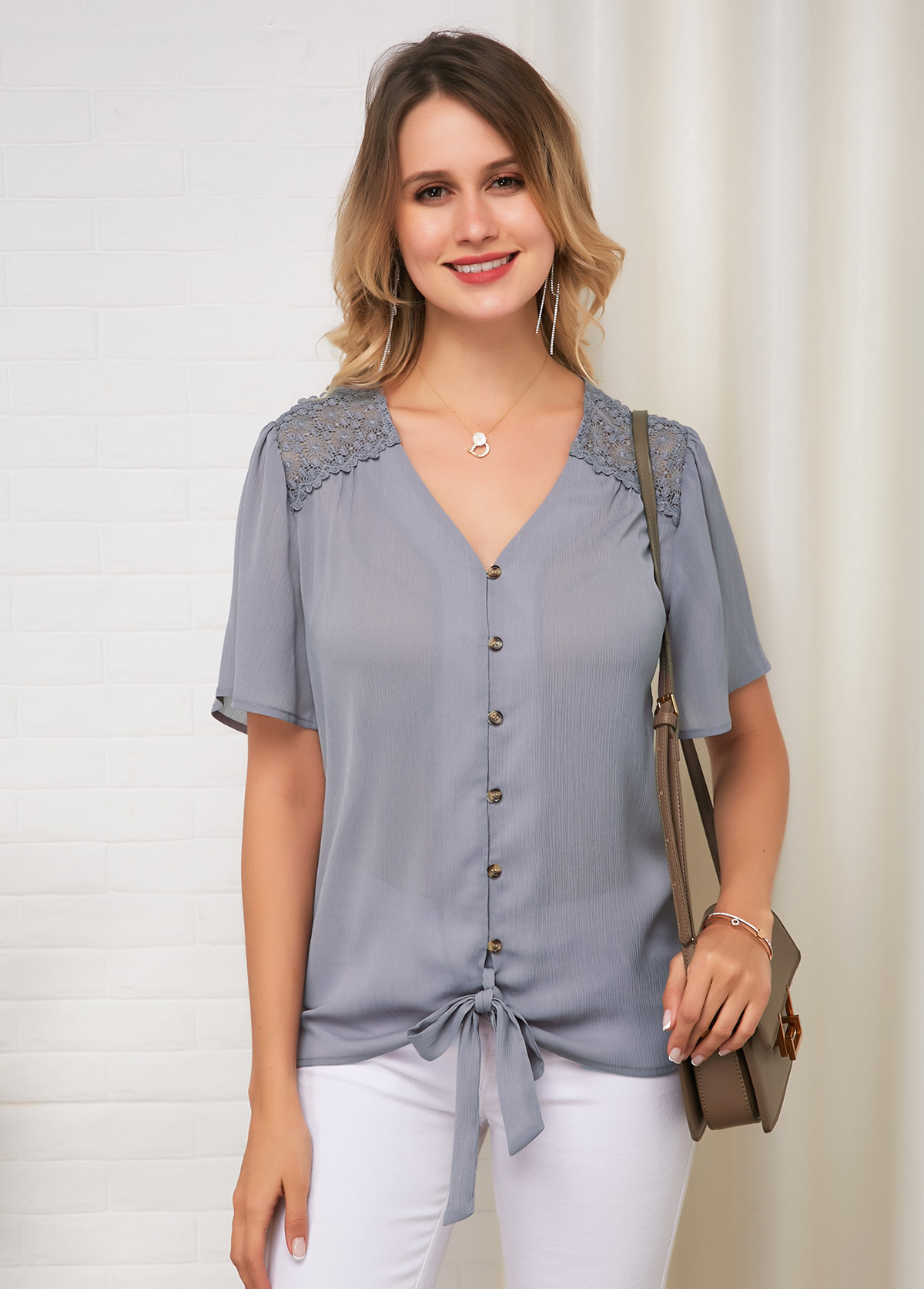 ROTITA Lace Panel Tie Front Short Sleeve Comfort Blouse