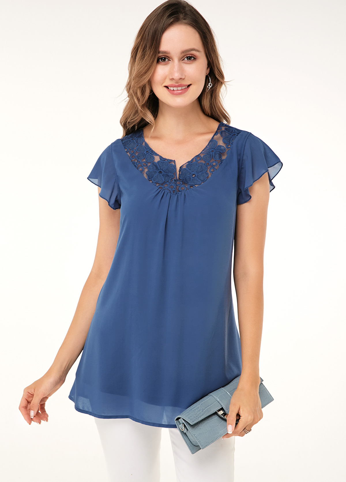 ROTITA Short Sleeve Lace Panel Dusty Blue Soft Blouse
