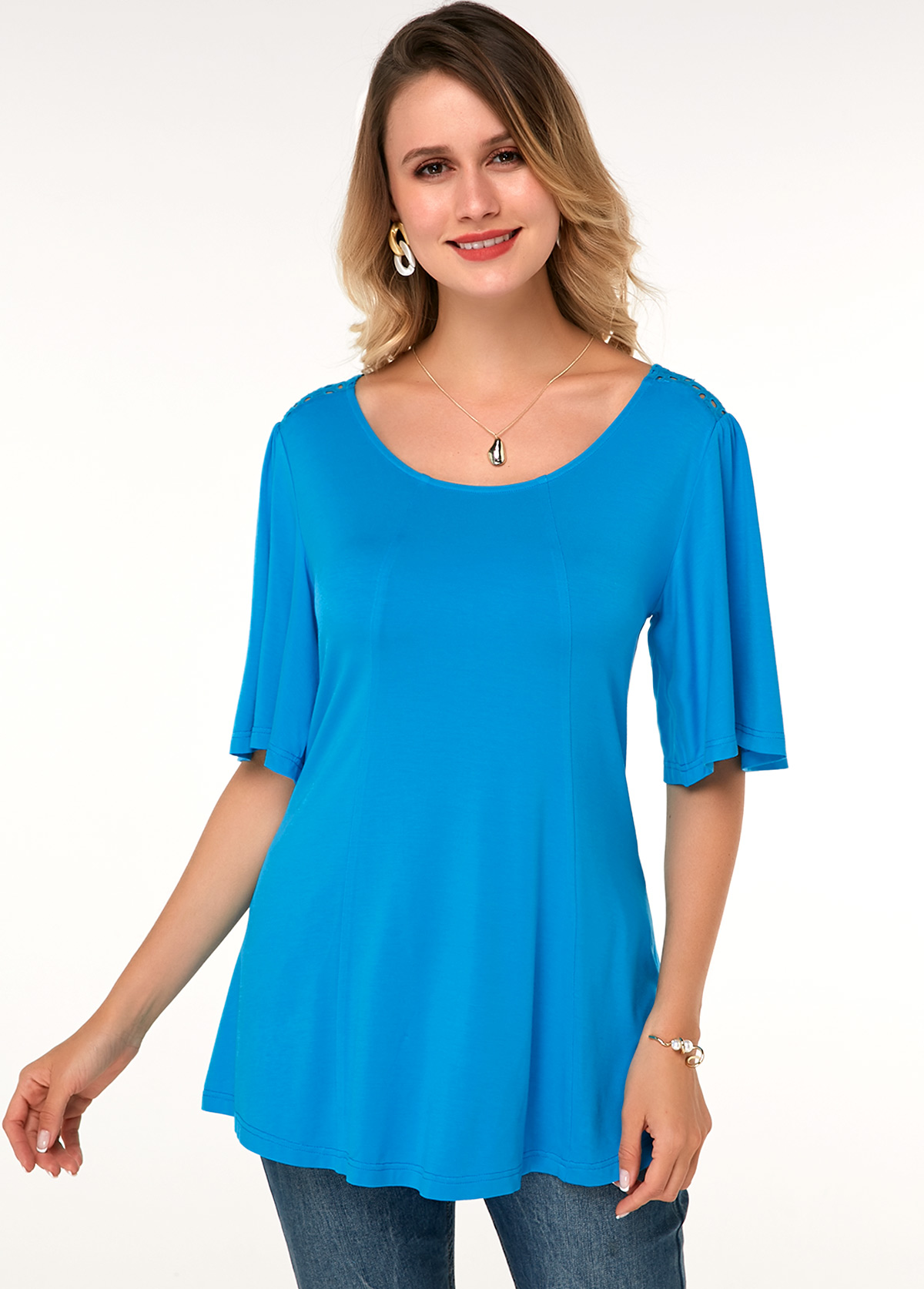 ROTITA Blue Flare Sleeve Round Neck Soft T Shirt