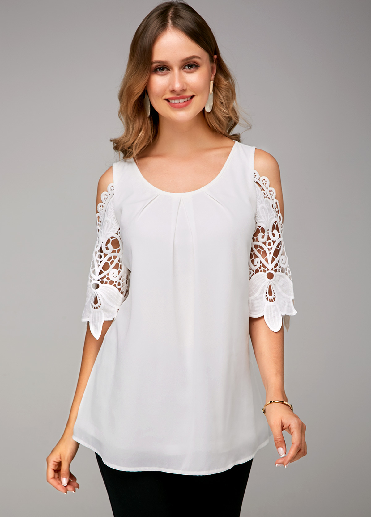 Lace Stitching Cold Shoulder White Soft Blouse