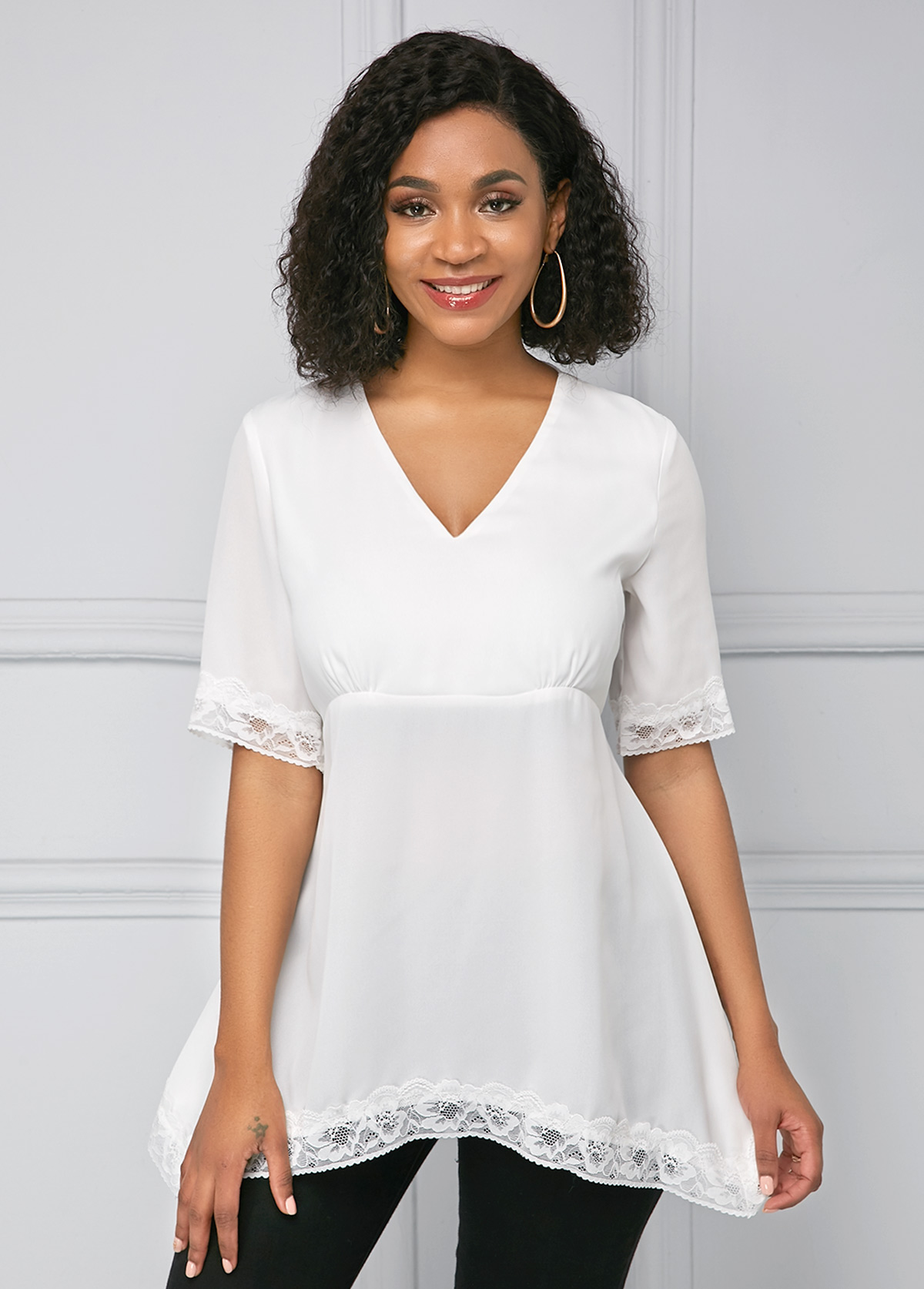 ROTITA White Lace Panel Half Sleeve Soft T Shirt