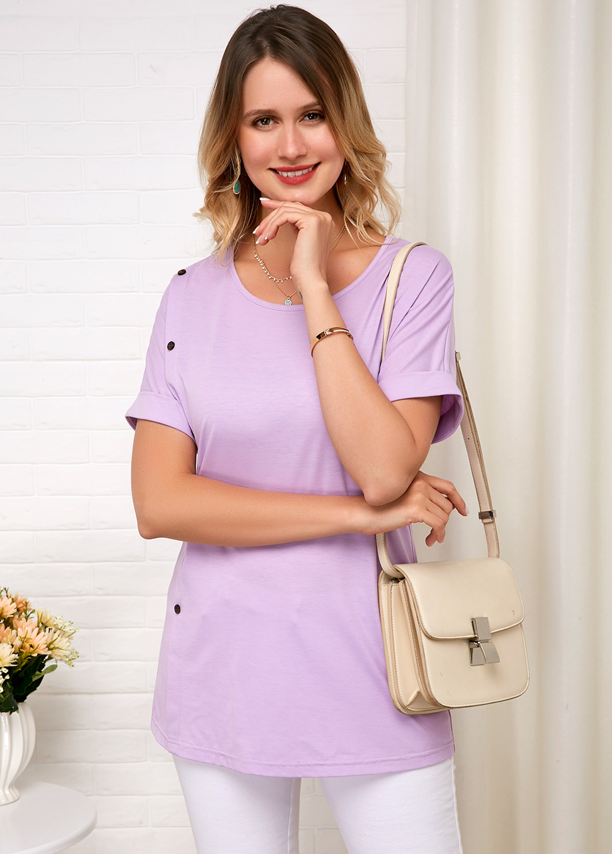 ROTITA Light Purple Round Neck Short Sleeve Comfort T Shirt