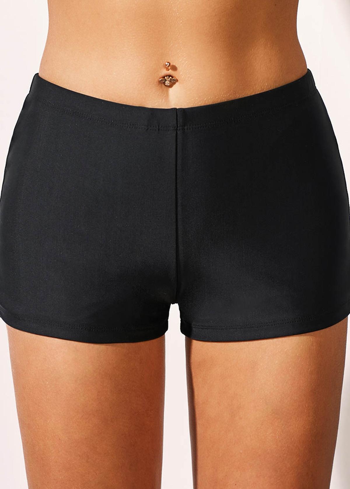 ROTITA Mid Waist Black Basic Swimwear Shorts