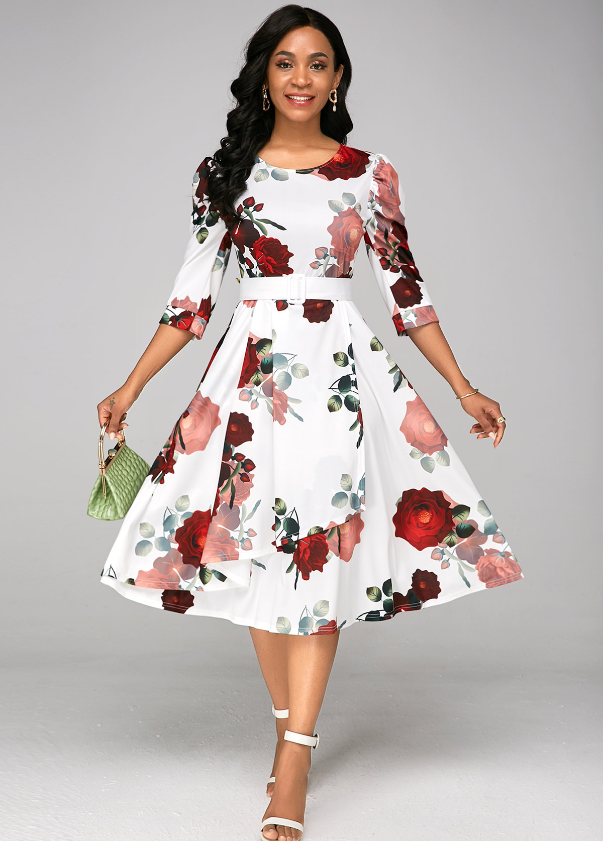 ROTITA Floral Print Belted A Line Dress