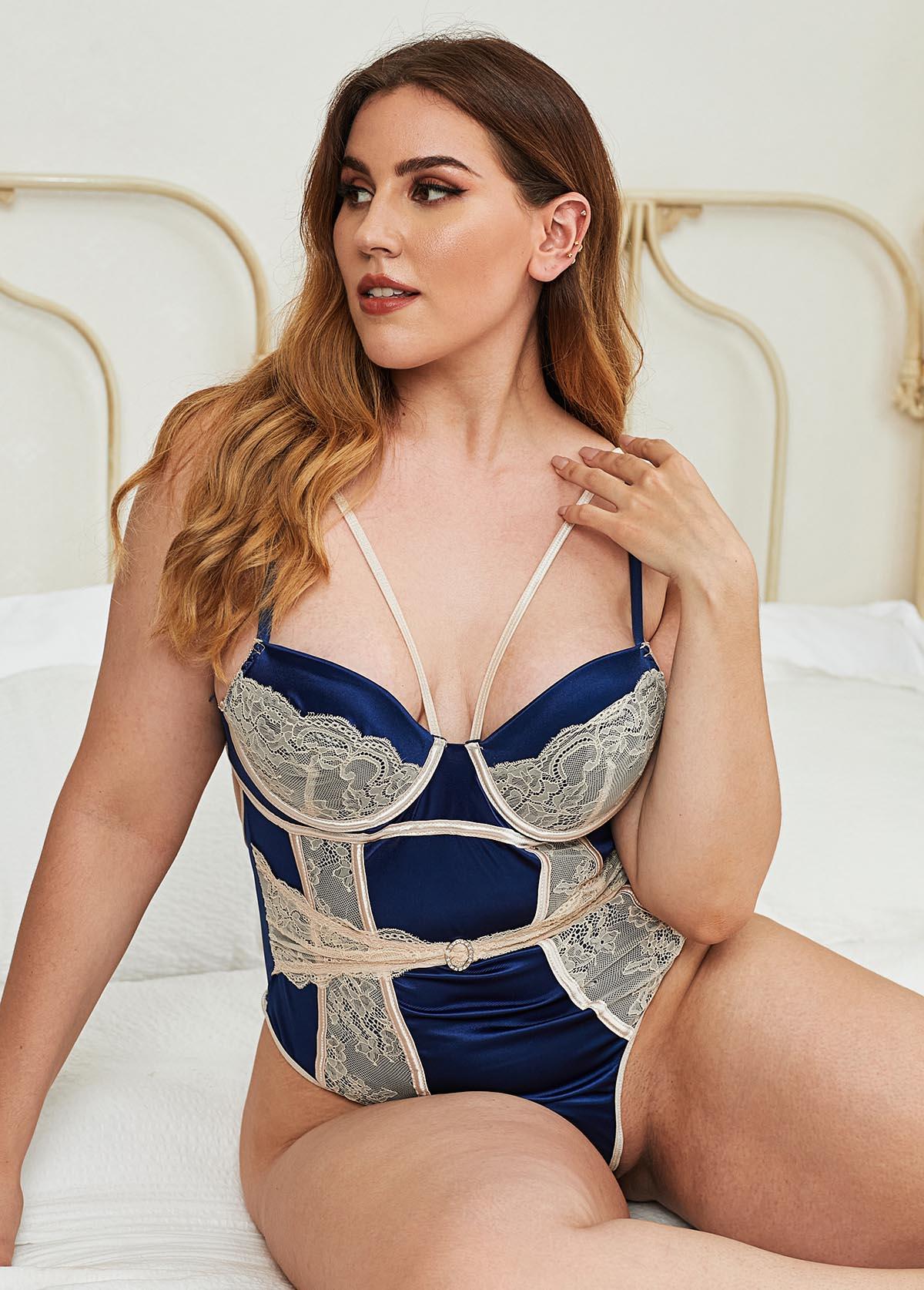 Plus Size Lace Panel Spaghetti Strap Bodysuit