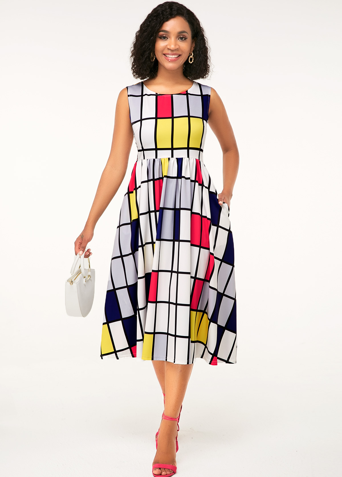 ROTITA Geometric Print Sleeveless Side Pocket Dress