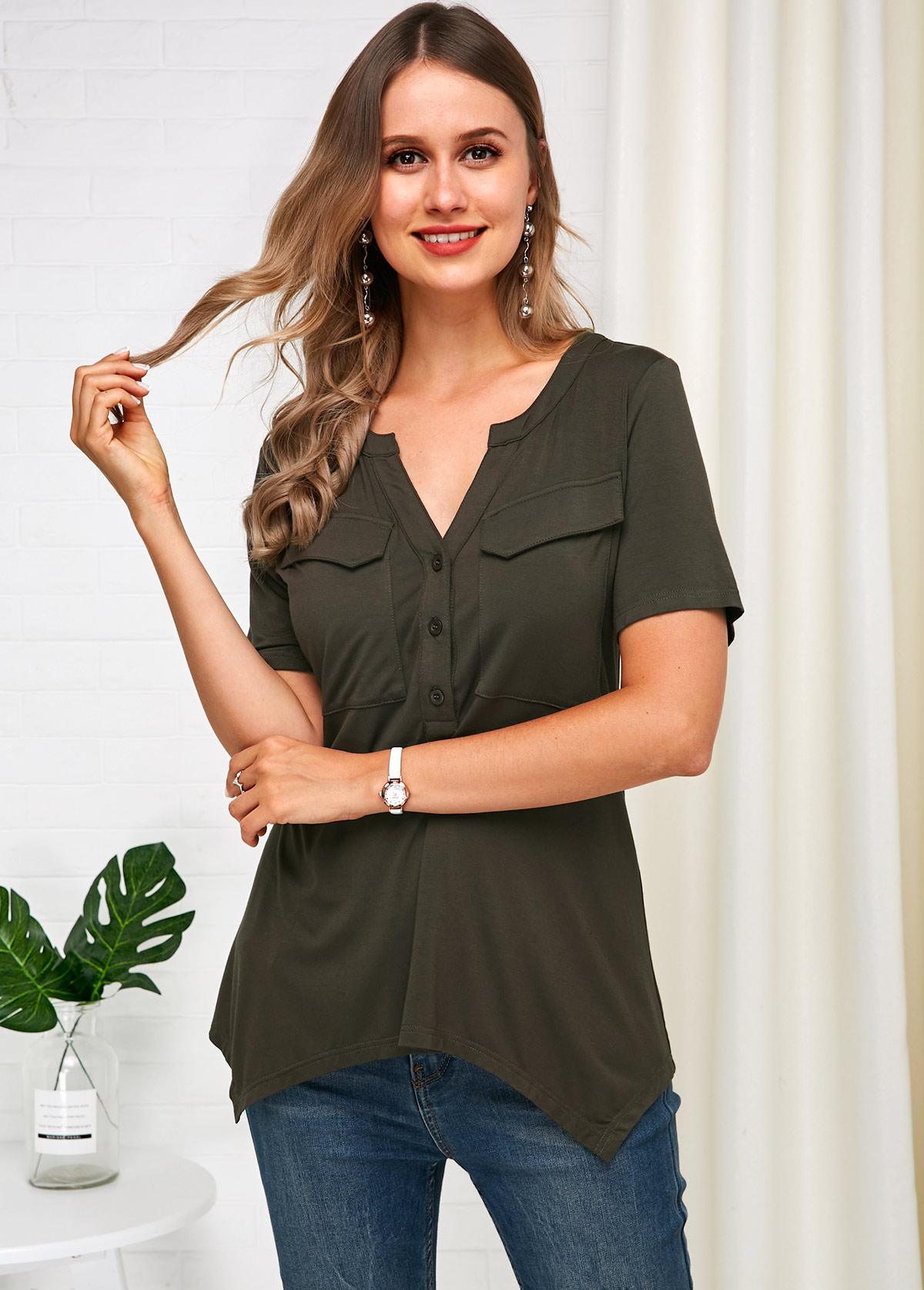 ROTITA Short Sleeve Asymmetric Hem Grey T Shirt