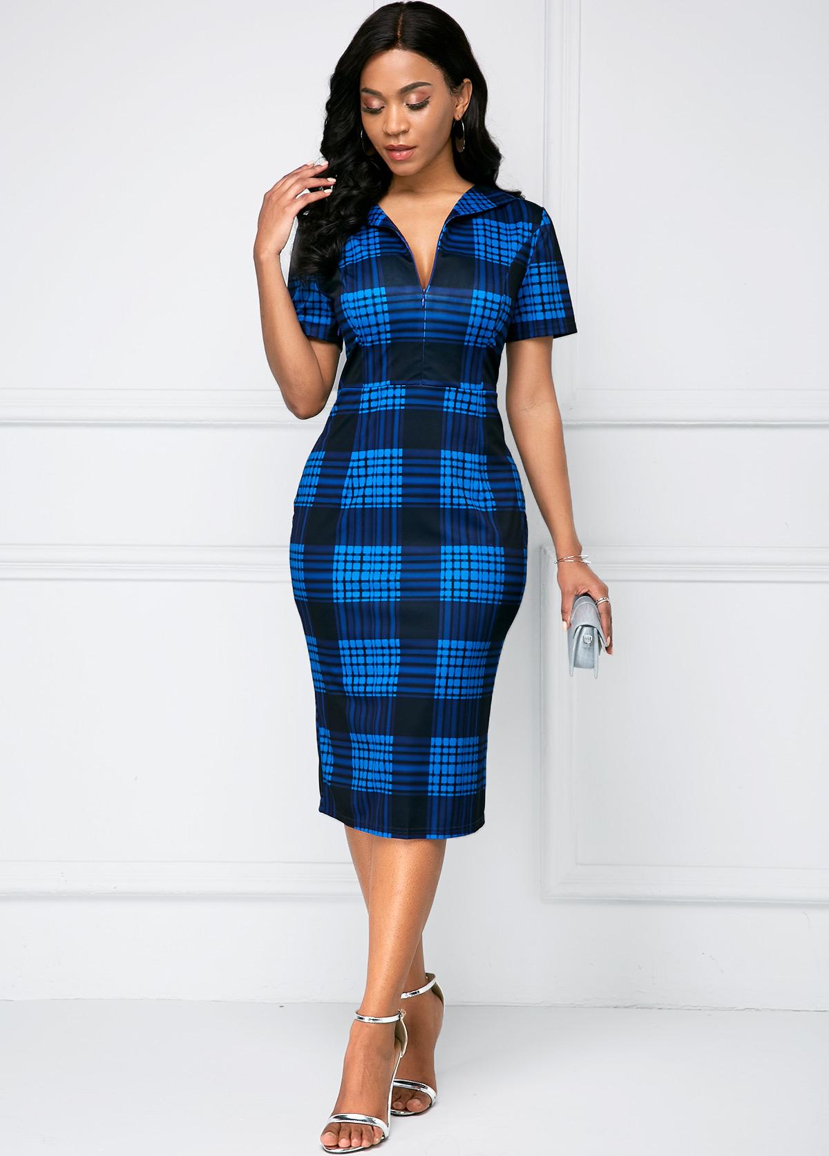 ROTITA High Waist Deep V Neck Short Sleeve Dress