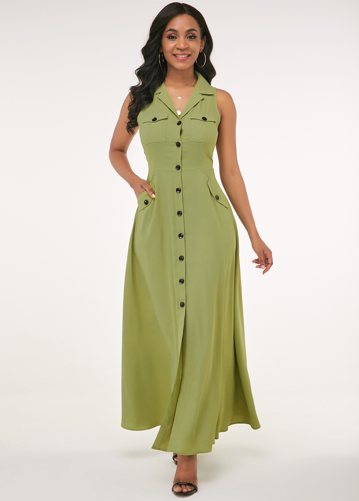 ROTITA Turndown Collar Button Up Side Pocket Maxi Dress