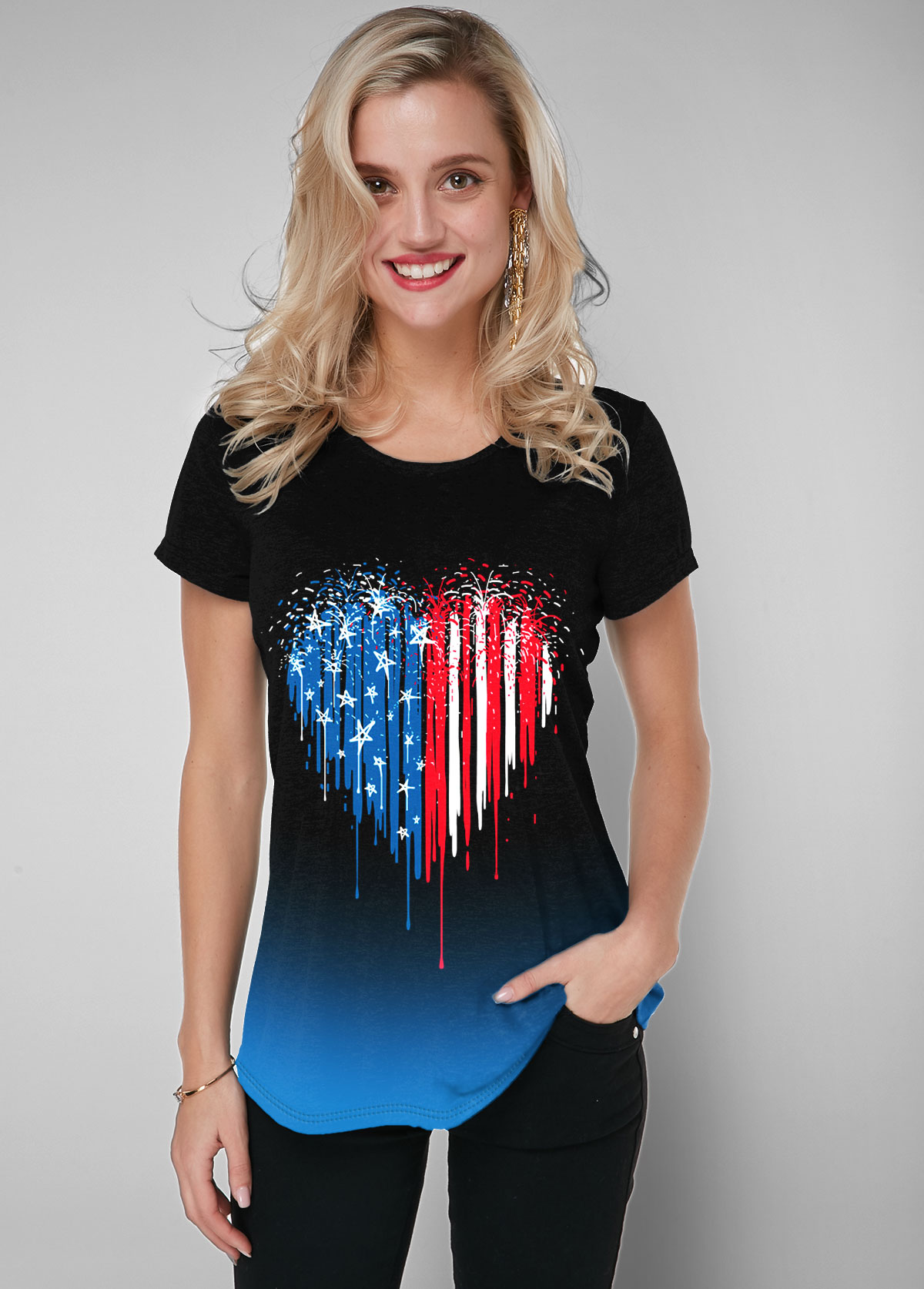ROTITA Gradient American Flag Print Black Short Sleeve T Shirt