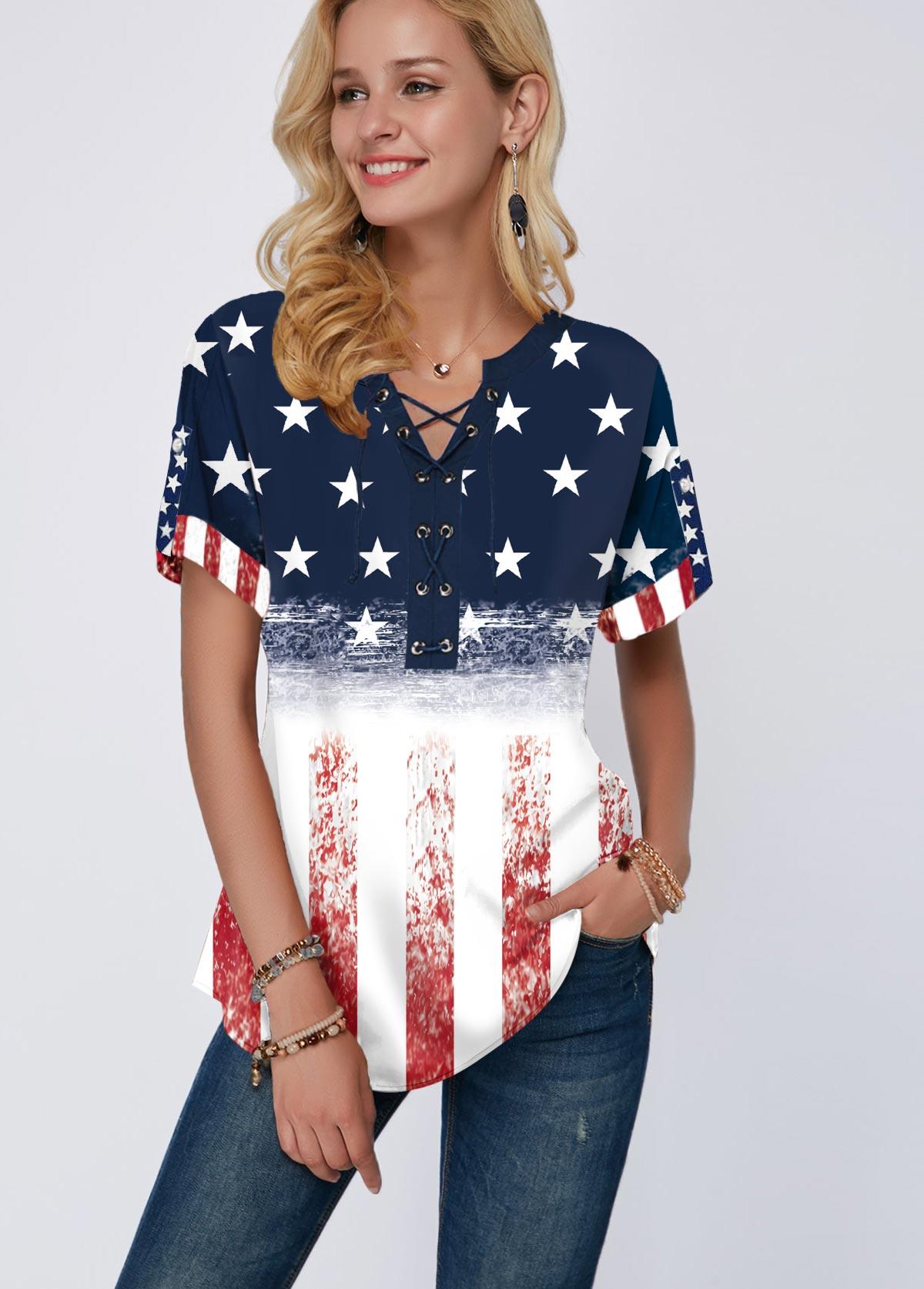 ROTITA Short Sleeve American Flag Print Split Neck Blouse