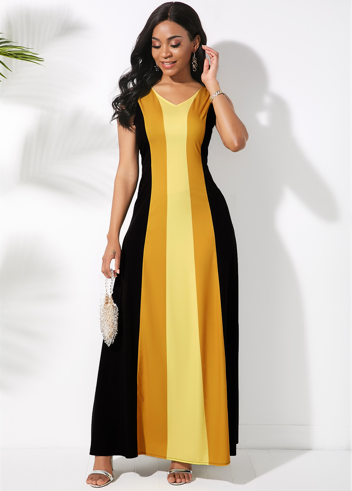 ROTITA Color Block Sleeveless V Neck Maxi Dress