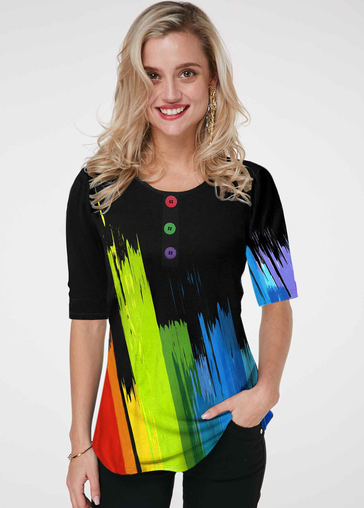 ROTITA Rainbow Color Button Detail Gradient Printed T Shirt
