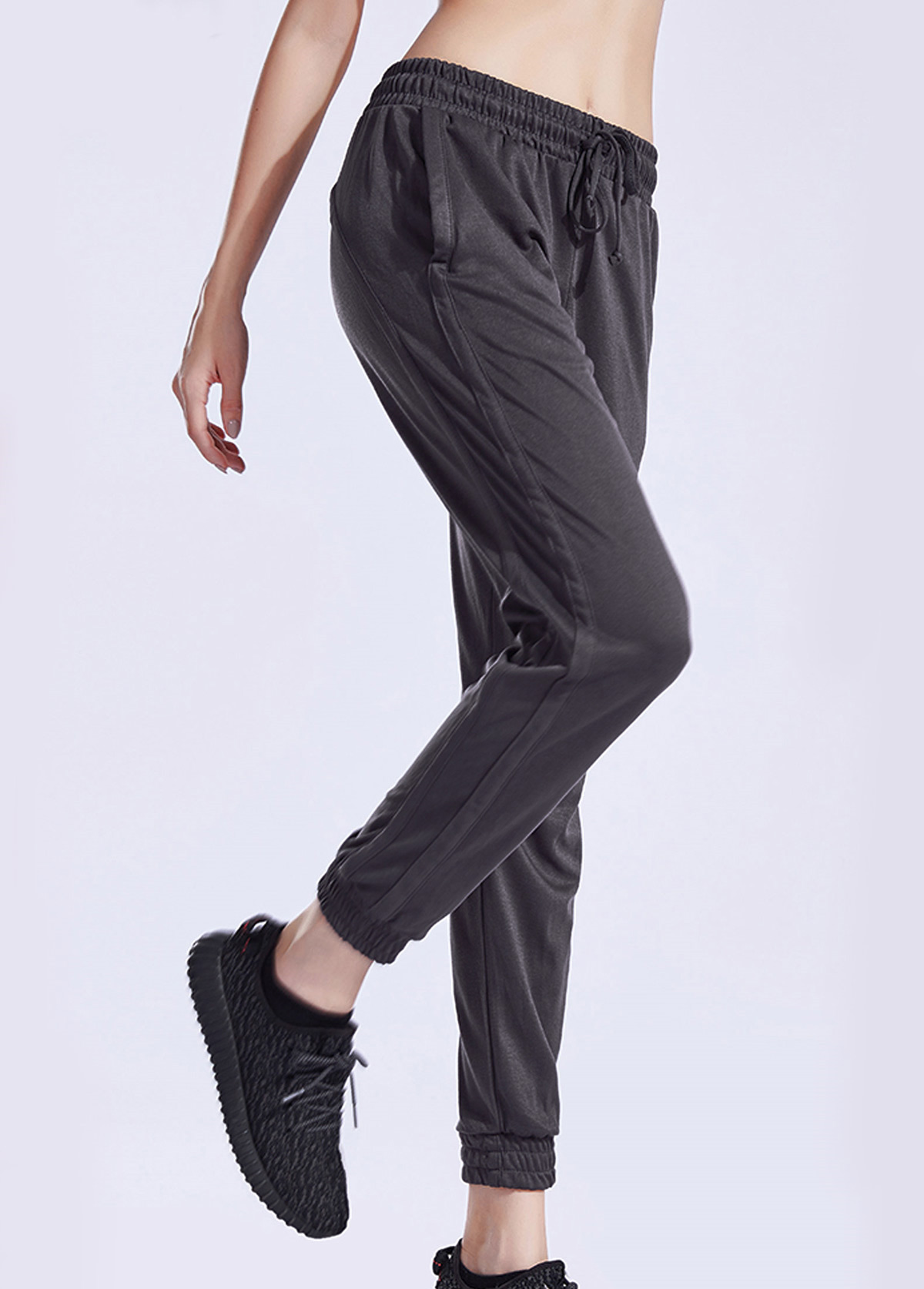 Black Mesh Panel Elastic Waist Sports Pants