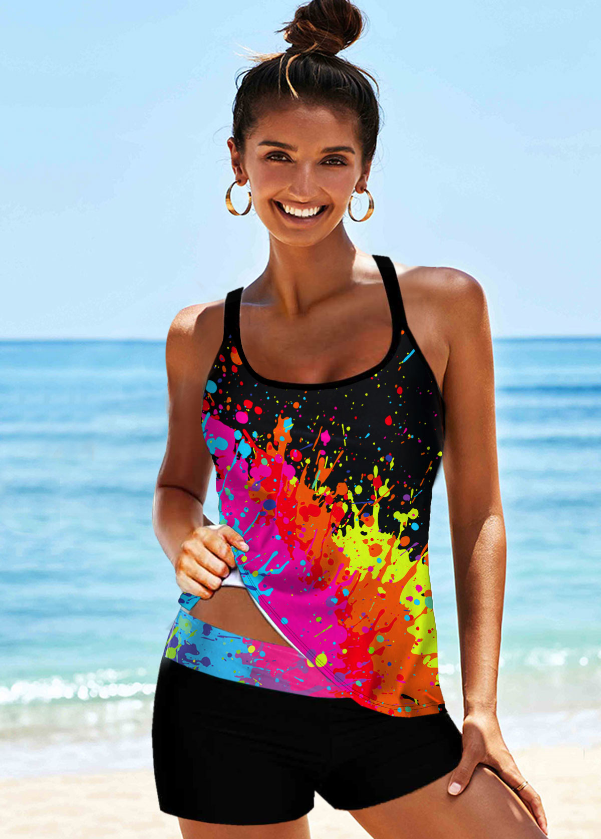 ROTITA Multi Color Cross Strap Printed Tankini Set