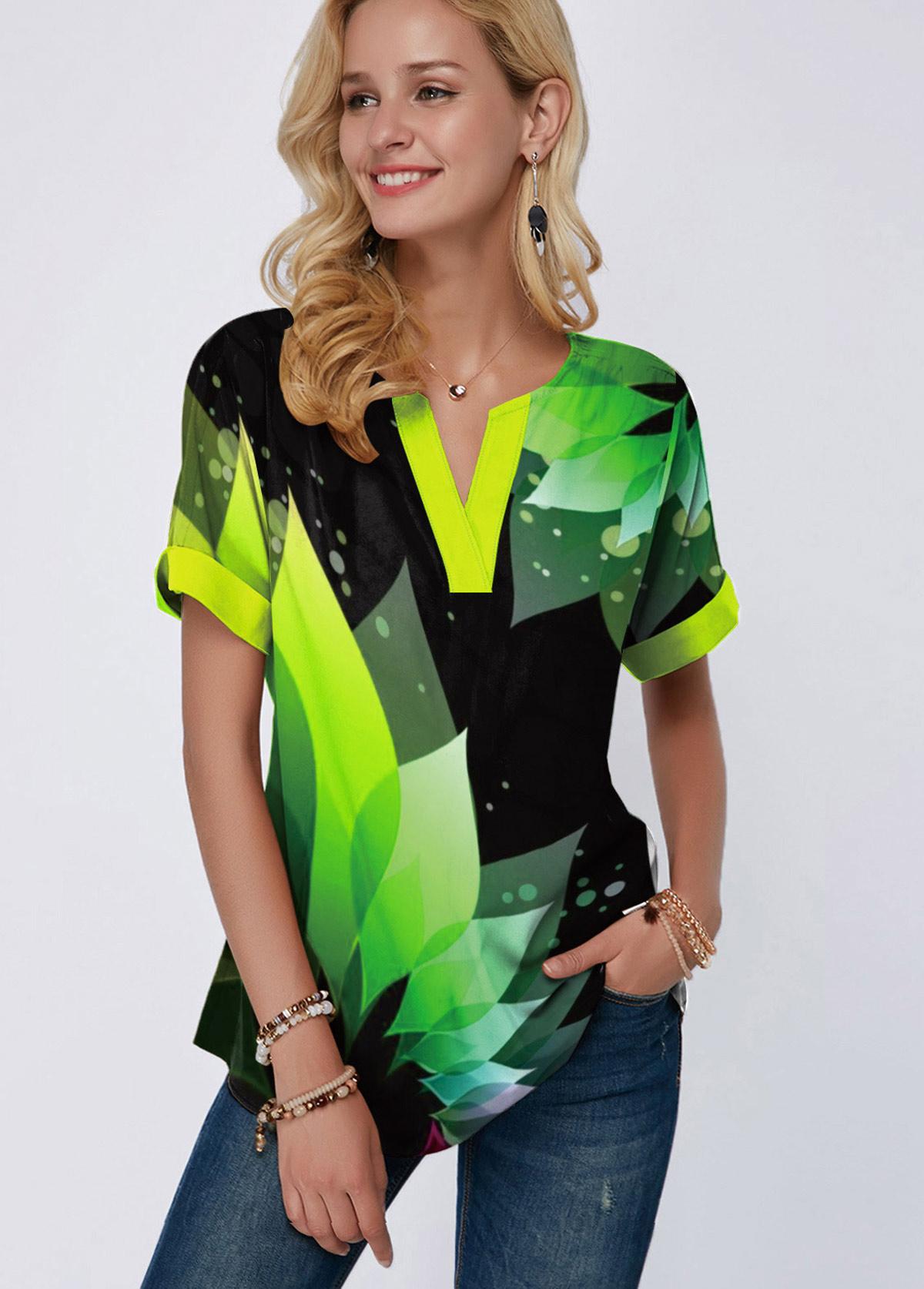 Green Split Neck Short Sleeve Printed Blouse