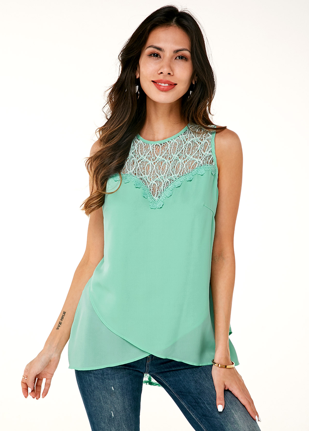 ROTITA Lace Panel Tulip Hem Sleeveless Soft Blouse