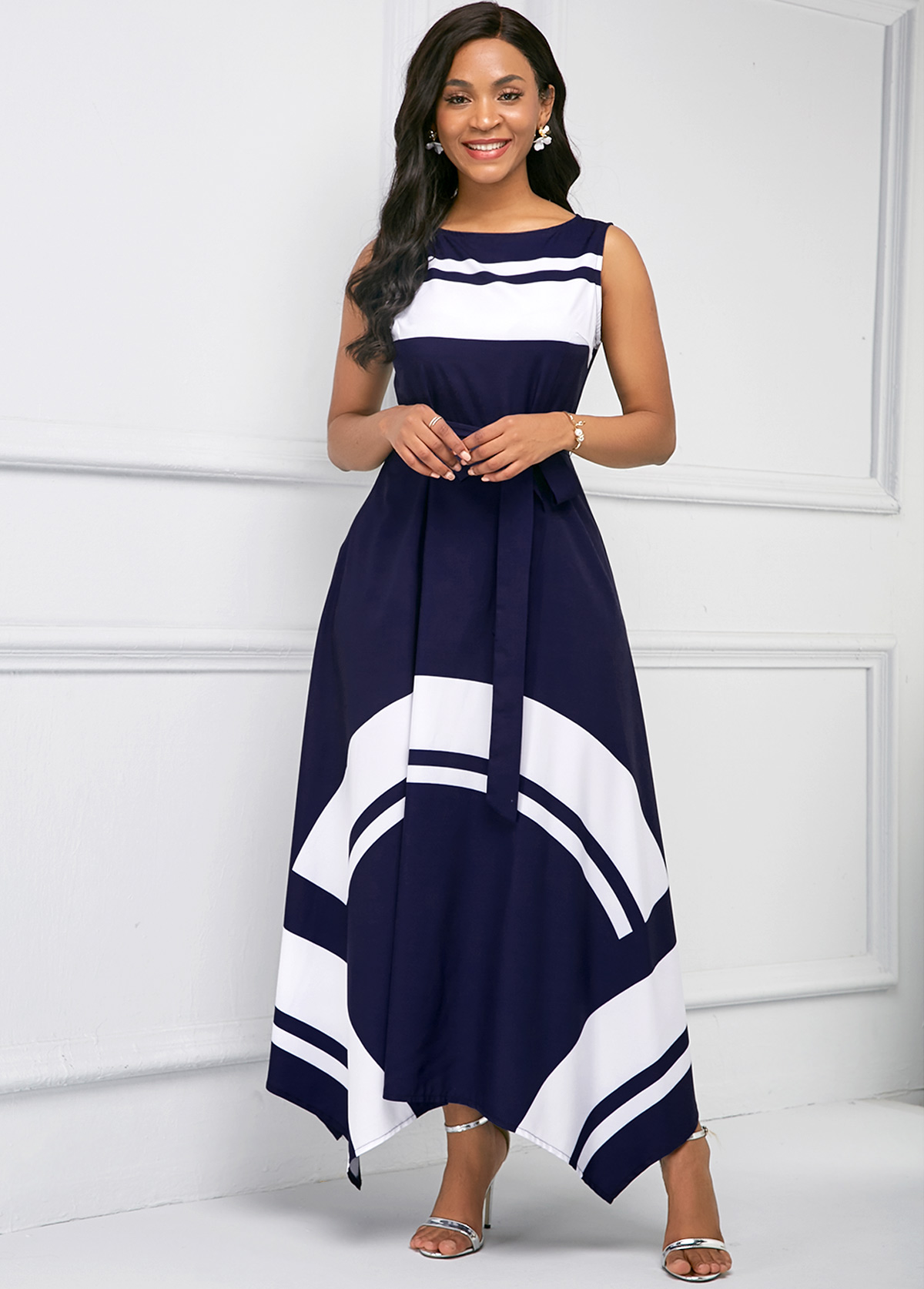 ROTITA Asymmetric Hem Printed Sleeveless Maxi Dress